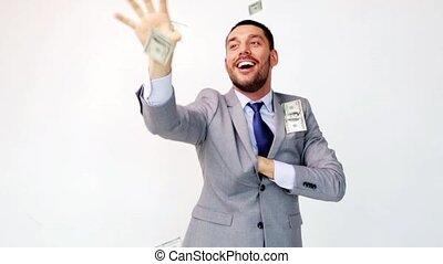 dollar, zakenman, pakketten, vrolijke , geld