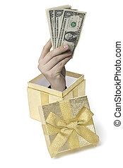 dollarbox - Eine Hand komt aus einer Geschenkebox heraus