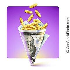 dollare, bag, tvinde, guld, amerikansk valuta, origami, mønter.