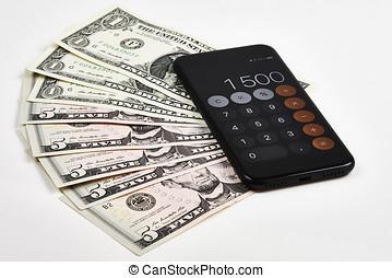 dollare, hos, bevægelig telefoner., hos, regnemaskine, på hvide, skrivebord