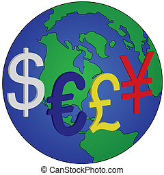 global currencies - dollar,euro,pound and yen are key global...