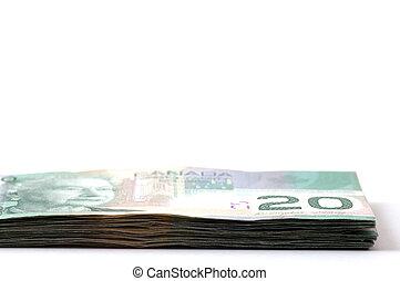 dollari, 20, pila, canadese