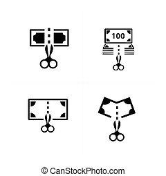 dollari, ara, taglio, con, forbici, icona, disegno