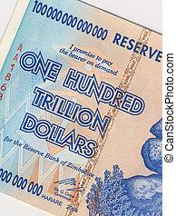dollari, banconota, trillion, uno, zimbabwe, cento