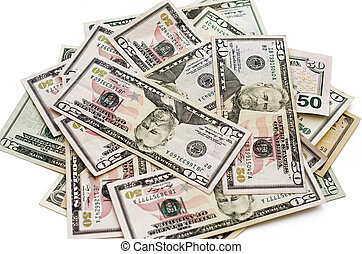 dollari, bianco, americano, fondo