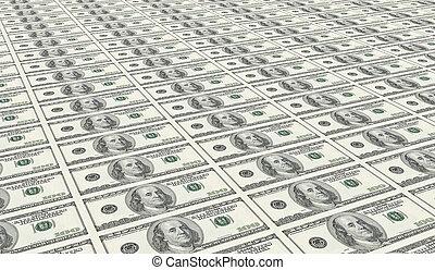 dollari, cento, foglio, intonso, uno