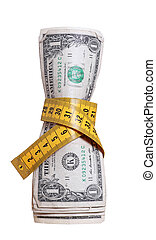 dollari, con, misura, nastro