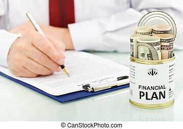 dollari, concetto, piano finanziario