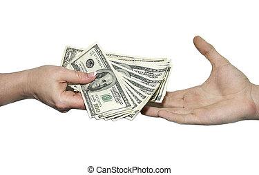 dollari, da, uno, mano, a