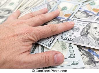 dollari, mucchio, mano