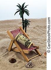 dollari, sedia, spiaggia, banca piggy
