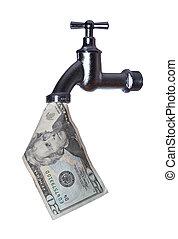 dollarnote, torneira, saída