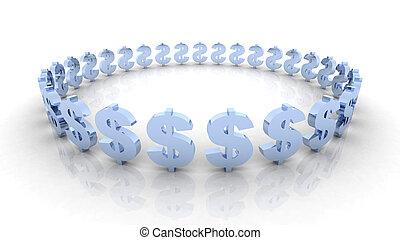 dollaro, 1, cerchio