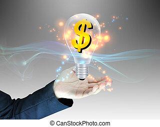 dollaro, ci, bulbo, luce, mano