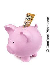 dollaro, cinquanta, nota, piggy, australiano, banca