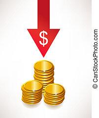 dollaro, concetto, soldi., deprezzamento