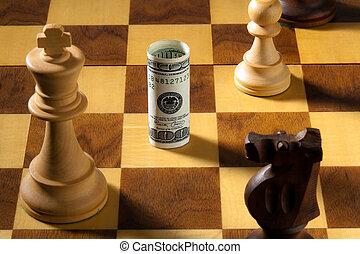 dollaro, depreciation., scacchi, note., banca, euro