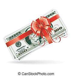 dollaro fattura, con, nastro, e, arco