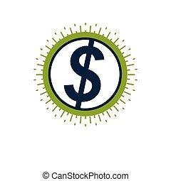 dollaro, icon., vettore, segno