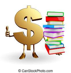 dollaro, libri, carattere, mucchio