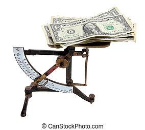 dollaro, note, scala, vecchio