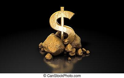 dollaro, oro, segno