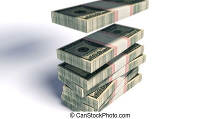 dollaro, pacchetto, giù,  100, effetti, Cadere,  HD