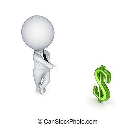 dollaro, persona, dorato, segno., 3d, piccolo