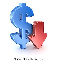 dollaro, segno freccia