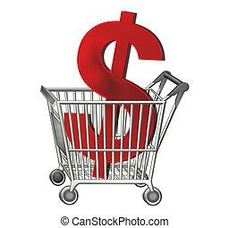 dollaro, shopping, isolato, carrello, segno