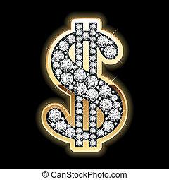 dollaro, simbolo., bling-bling.