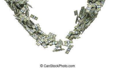 dollaro usa, flusso, con, rallentato