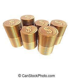 dollaro usa, monete, monete, isolato, su, uno, bianco