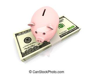 dollars, économie, tirelire