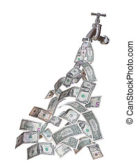 dollars, écoulement, robinet, dehors
