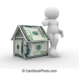 Dollars - 3d people - human character supported by a house...