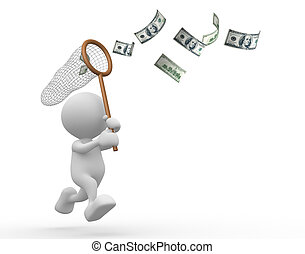 Dollars - 3d people - man, person with a butterfly net and...