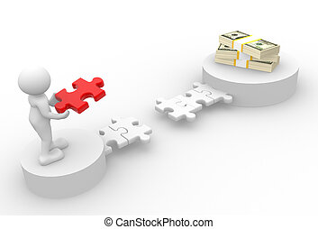 Dollars - 3d people - man, person with pieces of puzzle and...