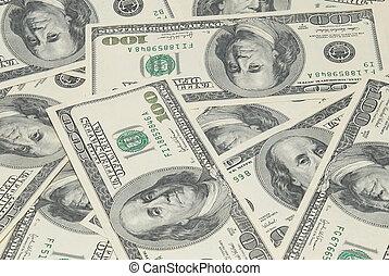 dollars, américain, pile