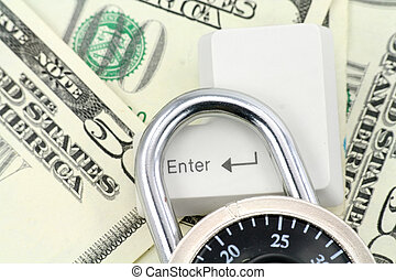 Dollars and a enter key, concept online shopping safety