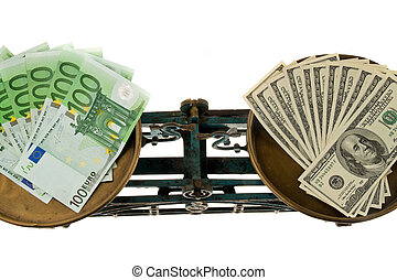Dollars and euros to balance. Differences in currencies