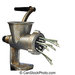 dollars and meat grinder