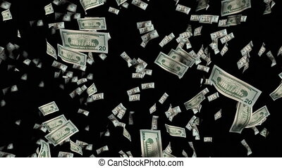 dollars, animatie, vallen beneden