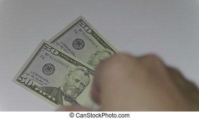 dollars., argent, mille, nous, homme, fhd, dénombrement, métrage, stockage