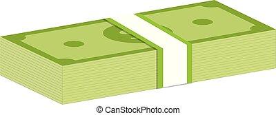 dollars, argent., paquets