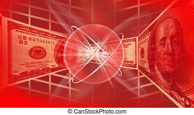 dollars, arrière-plan rouge
