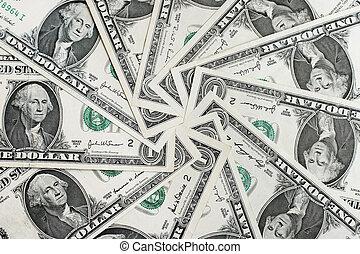 Background of One dollar bills in circular arrangement