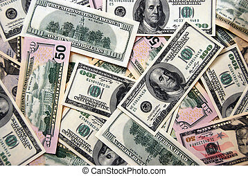 Dollars background - Money background of $100 and $50 bills ...