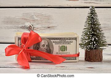 dollars, band, bow., röd