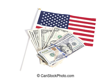Dollars bills on American flag